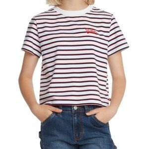 Dickies Embroidered Logo Striped Tee Size Small